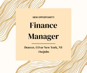 Finance Manager – New York or Denver